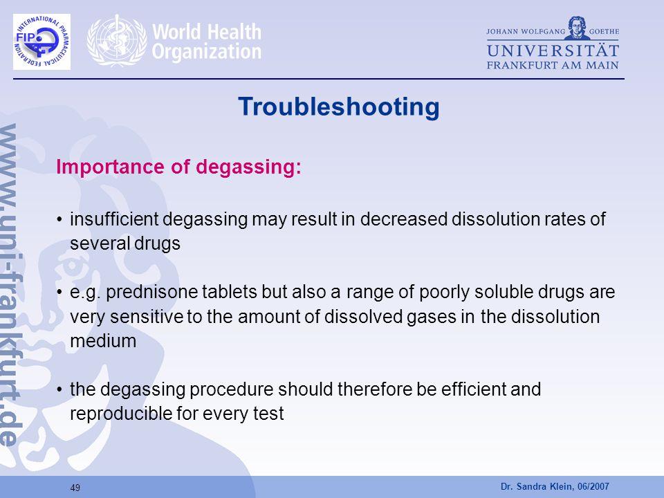 Dr. Sandra Klein, 06/2007 49 Importance of degassing: insufficient degassing may result in decreased dissolution rates of several drugs e.g. prednison