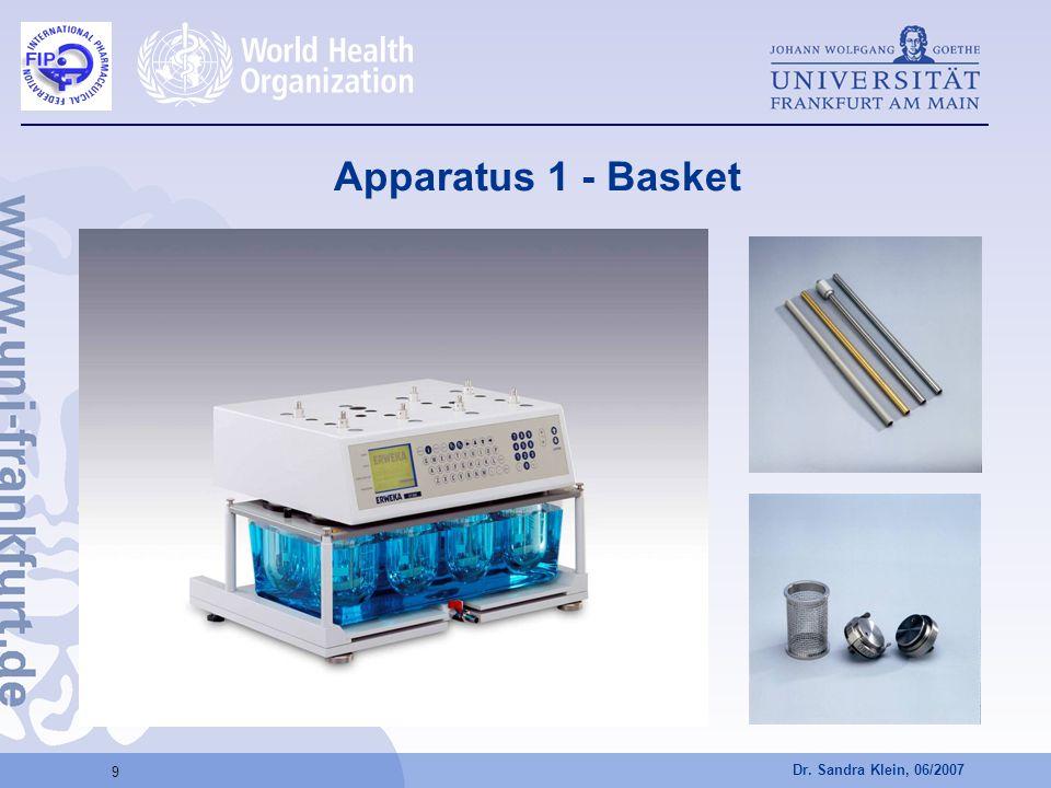 Dr. Sandra Klein, 06/2007 9 Apparatus 1 - Basket