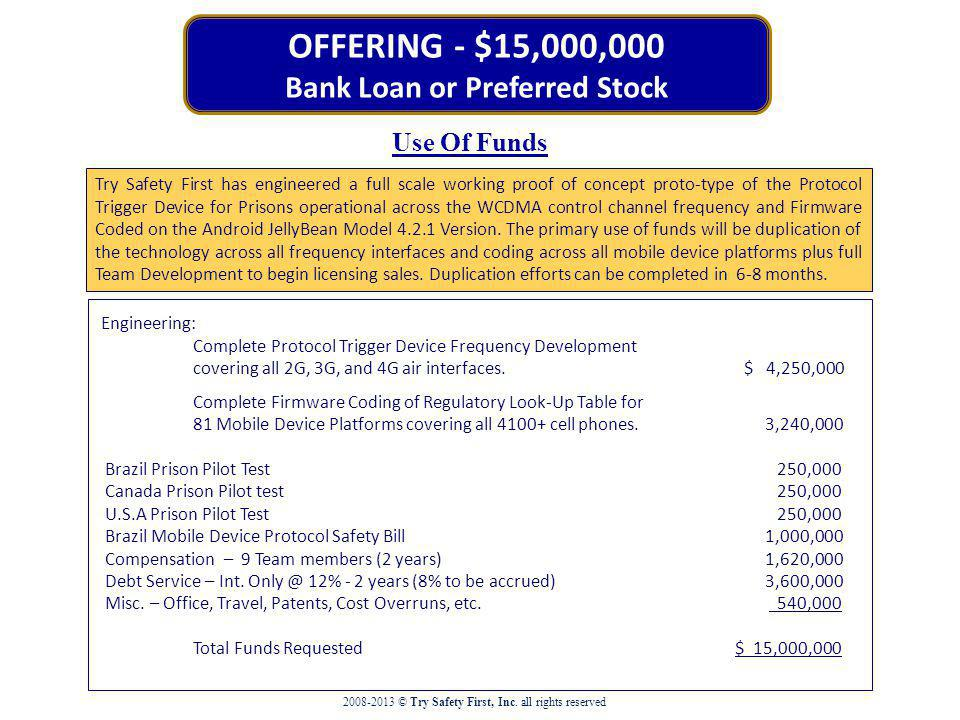 OFFERING - $15,000,000 Bank Loan or Preferred Stock Use Of Funds Engineering: Complete Protocol Trigger Device Frequency Development covering all 2G, 3G, and 4G air interfaces.