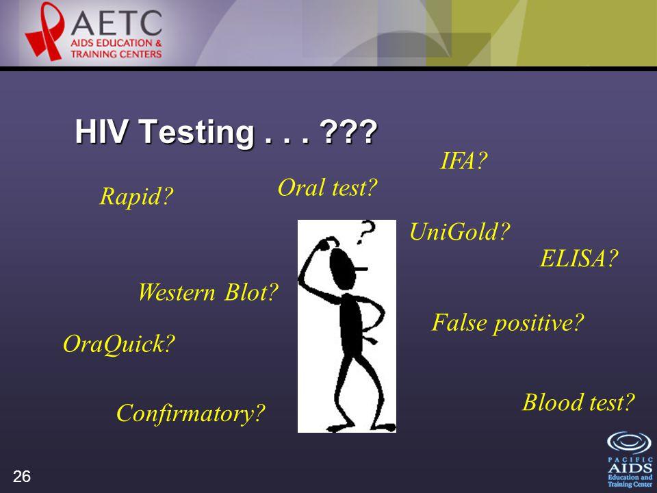26 HIV Testing... . Rapid. ELISA. Western Blot.