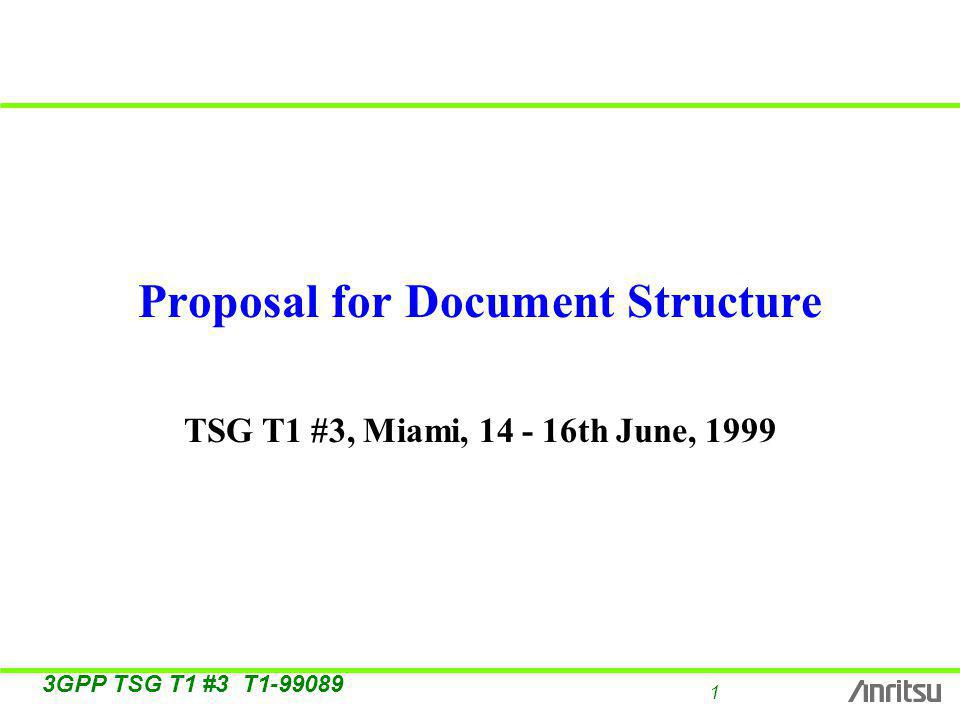 1 3GPP TSG T1 #3 T Proposal for Document Structure TSG T1 #3, Miami, th June, 1999