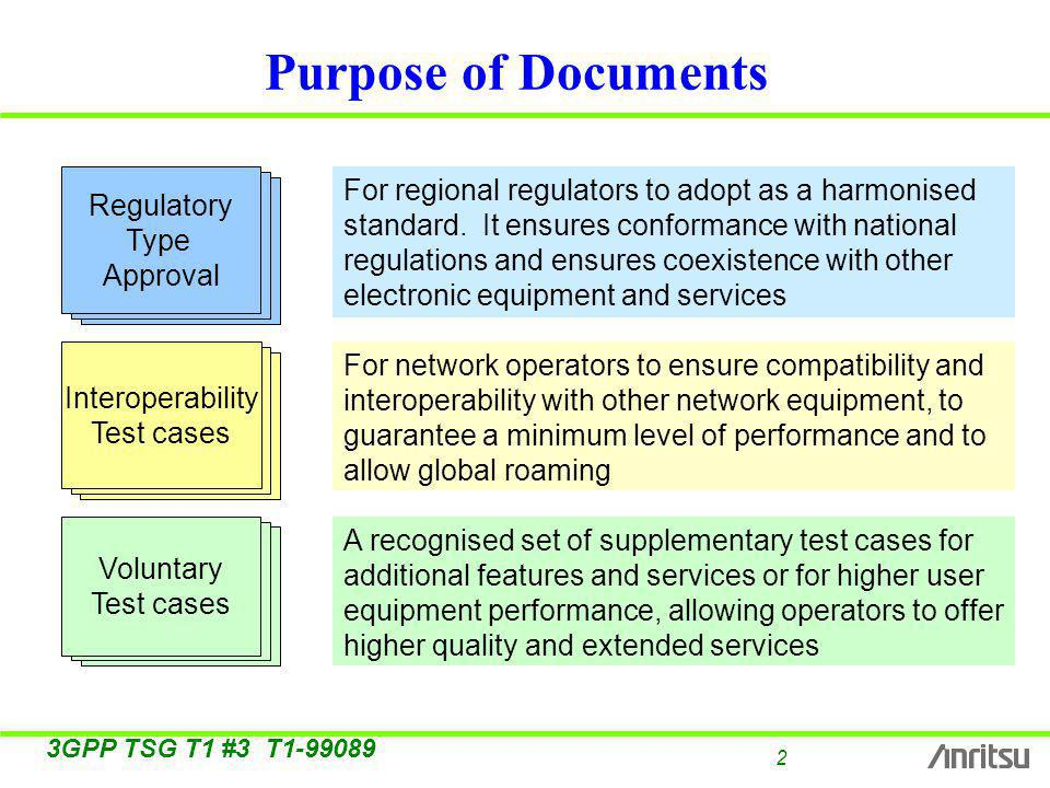2 3GPP TSG T1 #3 T Interoperability Test cases Purpose of Documents Type Approval Type Approval Regulatory Type Approval Voluntary Test cases Voluntary Test cases Voluntary Test cases For regional regulators to adopt as a harmonised standard.