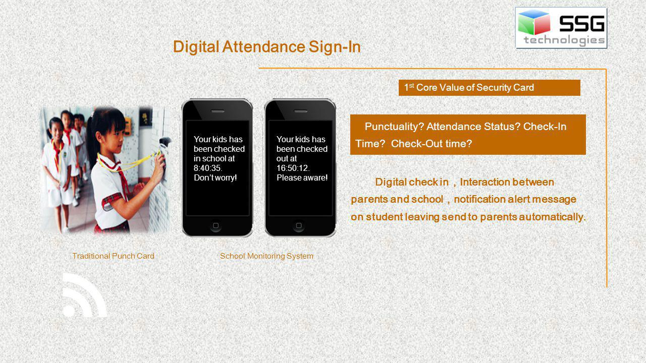 12 Punctuality? Attendance Status? Check-In Time? Check-Out time? Digital check in Interaction between parents and school notification alert message o