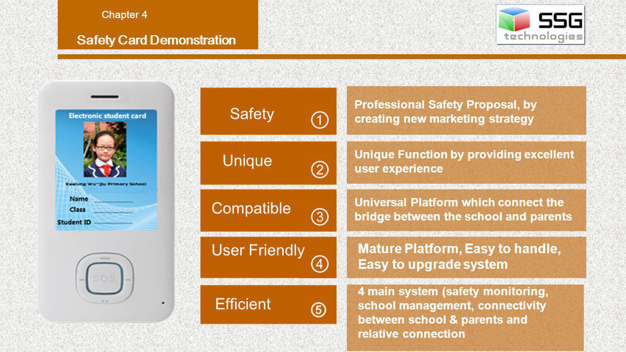 Safety Card Demonstration Chapter 4 Professional Safety Proposal, by creating new marketing strategy Safety Universal Platform which connect the bridge between the school and parents Mature Platform, Easy to handle, Easy to upgrade system Unique Compatible User Friendly 4 main system (safety monitoring, school management, connectivity between school & parents and relative connection Efficient Unique Function by providing excellent user experience