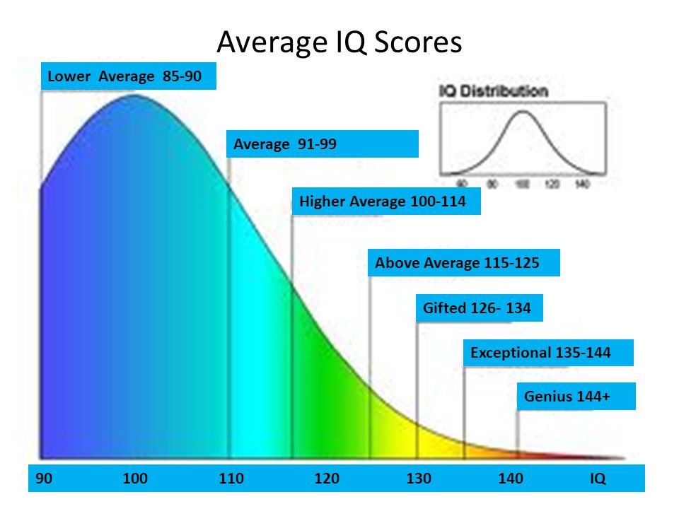 Average IQ Scores Lower Average 85-90 Average 91-99 Above Average 115-125 Gifted 126- 134 Genius 144+ Exceptional 135-144 Higher Average 100-114 90 100 110 120 130 140 IQ