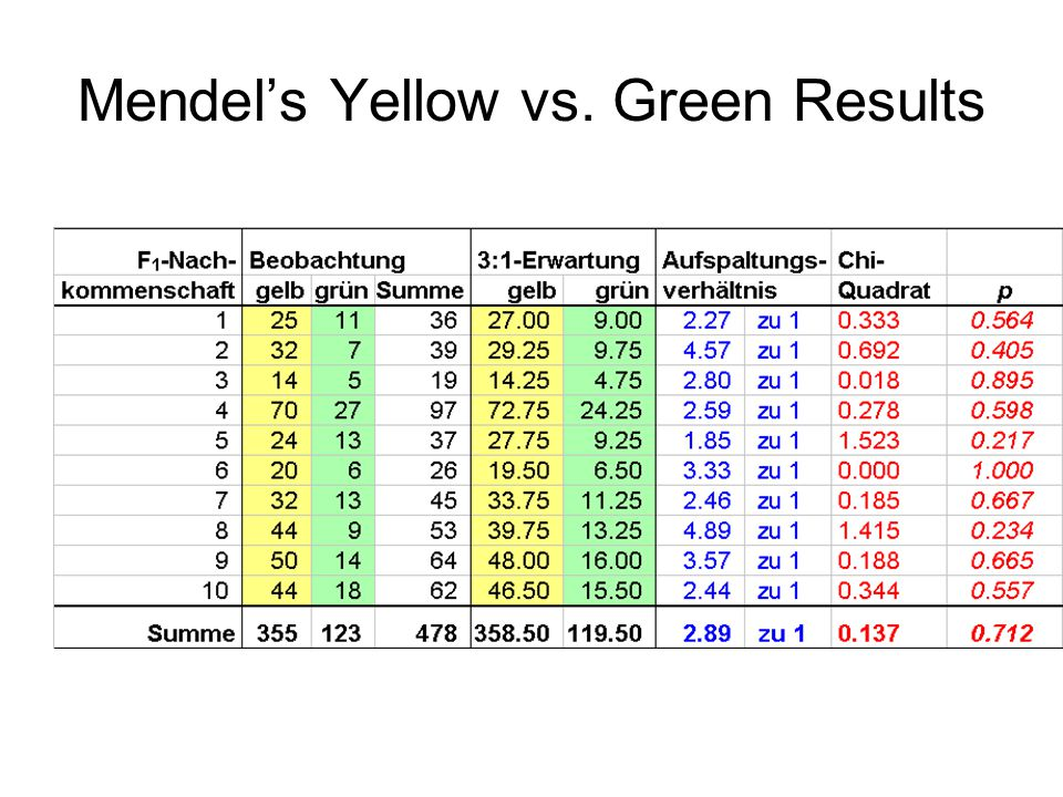 Mendels Yellow vs. Green Results
