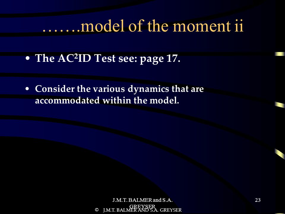 J.M.T.BALMER and S.A. GREYSER 23 …….model of the moment ii The AC 2 ID Test see: page 17.