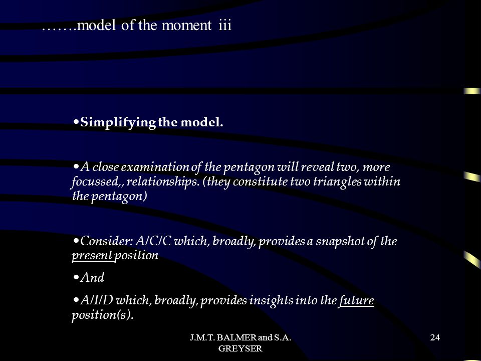 J.M.T.BALMER and S.A. GREYSER 24 Simplifying the model.