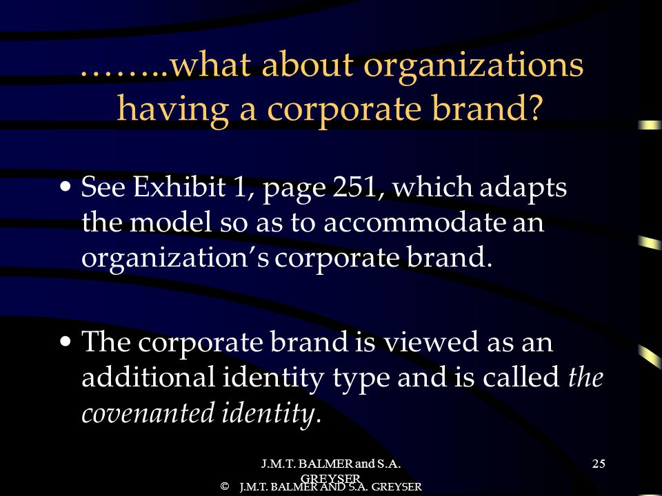 J.M.T.BALMER and S.A. GREYSER 25 ……..what about organizations having a corporate brand.