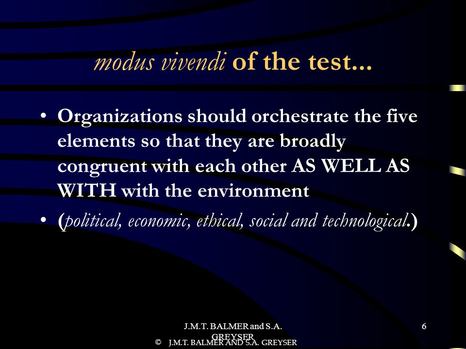 J.M.T.BALMER and S.A. GREYSER 6 modus vivendi of the test...