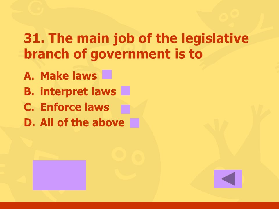 30. The main job of the executive branch of government is to A.Make laws B.Interpret laws C.Enforce laws D.All of the above
