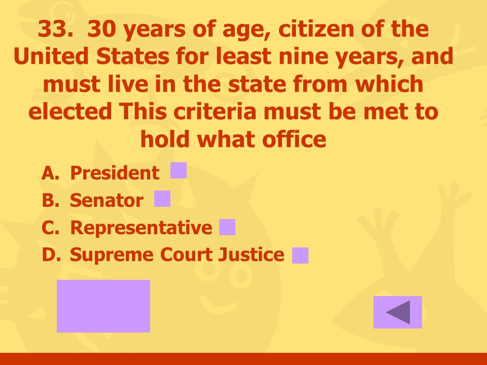 32. 35 years of age, native born citizen of the United States, and a resident of United States for at least 14 consecutive years. This criteria must b