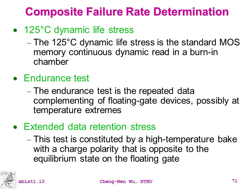 mbist1.10Cheng-Wen Wu, NTHU 71 Composite Failure Rate Determination 125°C dynamic life stress The 125°C dynamic life stress is the standard MOS memory