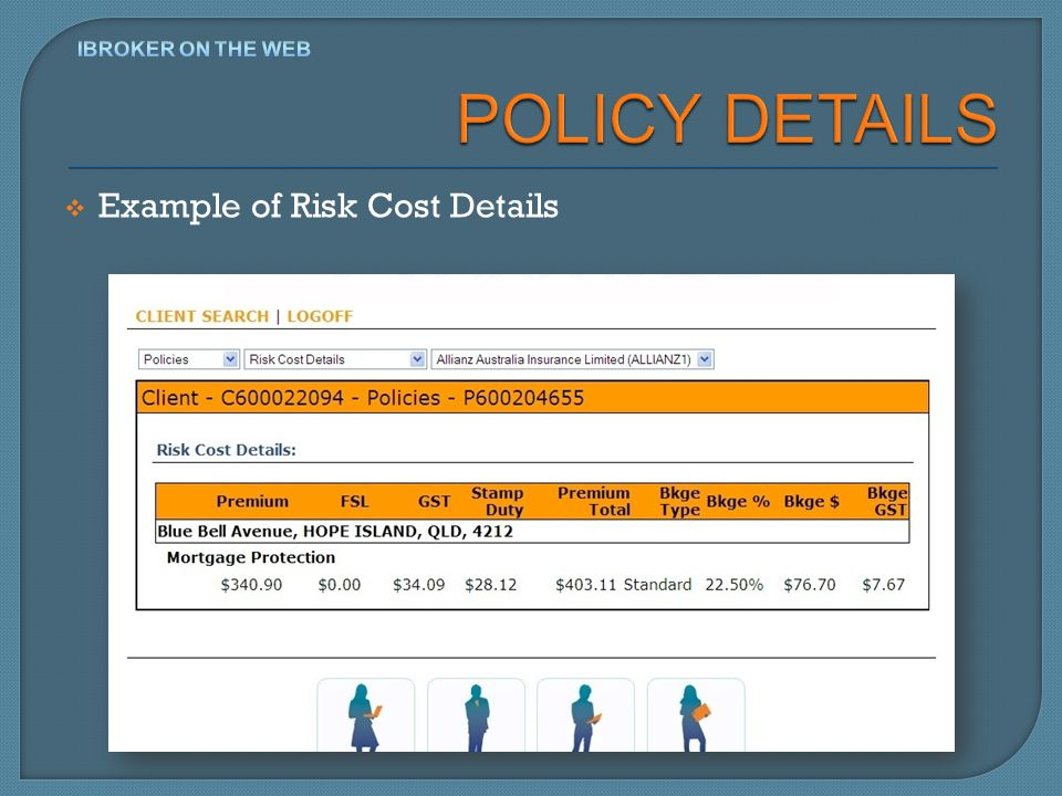 Example of Risk Cost Details