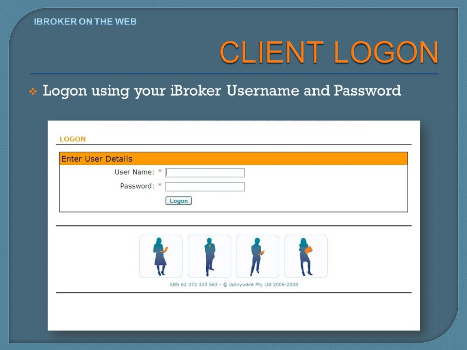 Logon using your iBroker Username and Password
