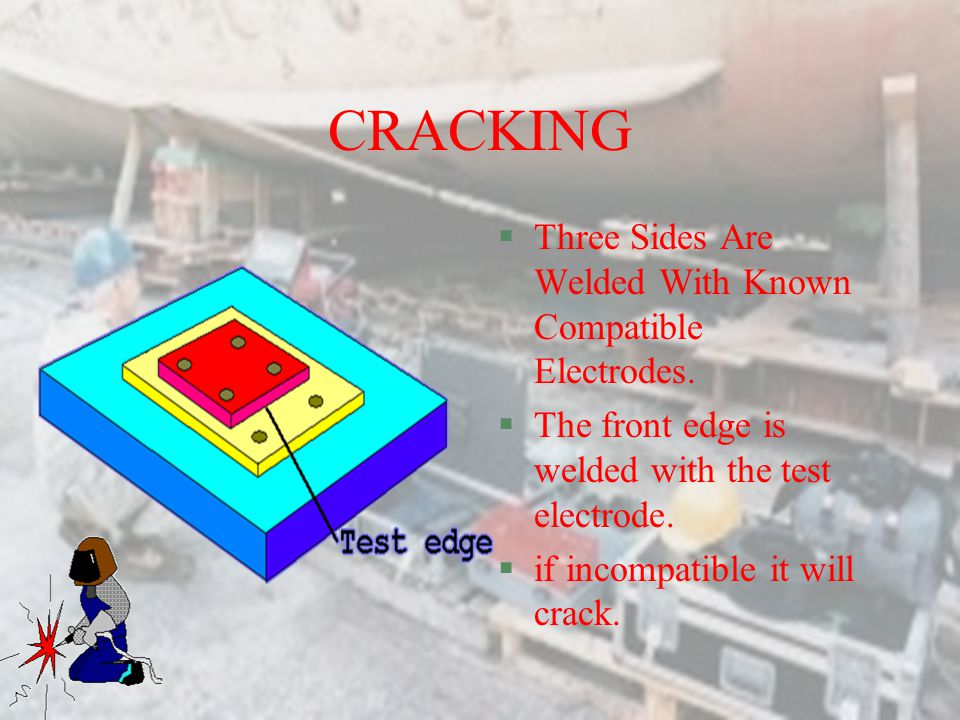 CRACKING §REEVES Test study the hardening and cracking of welds. §The compatibility of electrodes for the metal being joined.