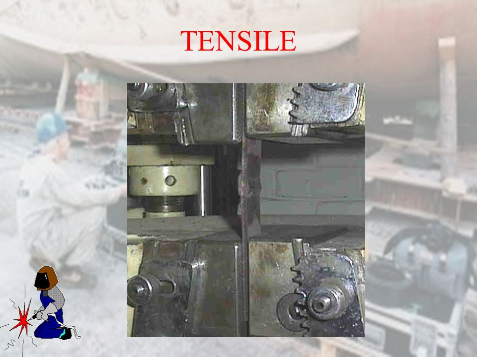 TENSILE Material is sectioned and edges rounded of to prevent cracking. Punch marks are made to see elongation.