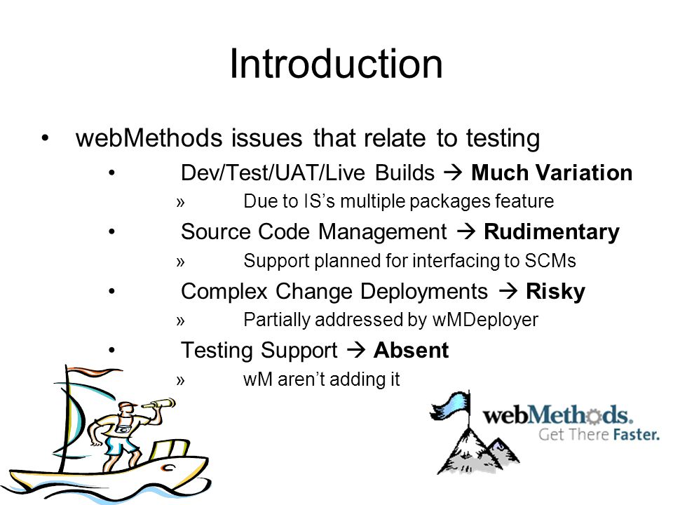 Introduction webMethods issues that relate to testing Dev/Test/UAT/Live Builds Much Variation »Due to ISs multiple packages feature Source Code Manage