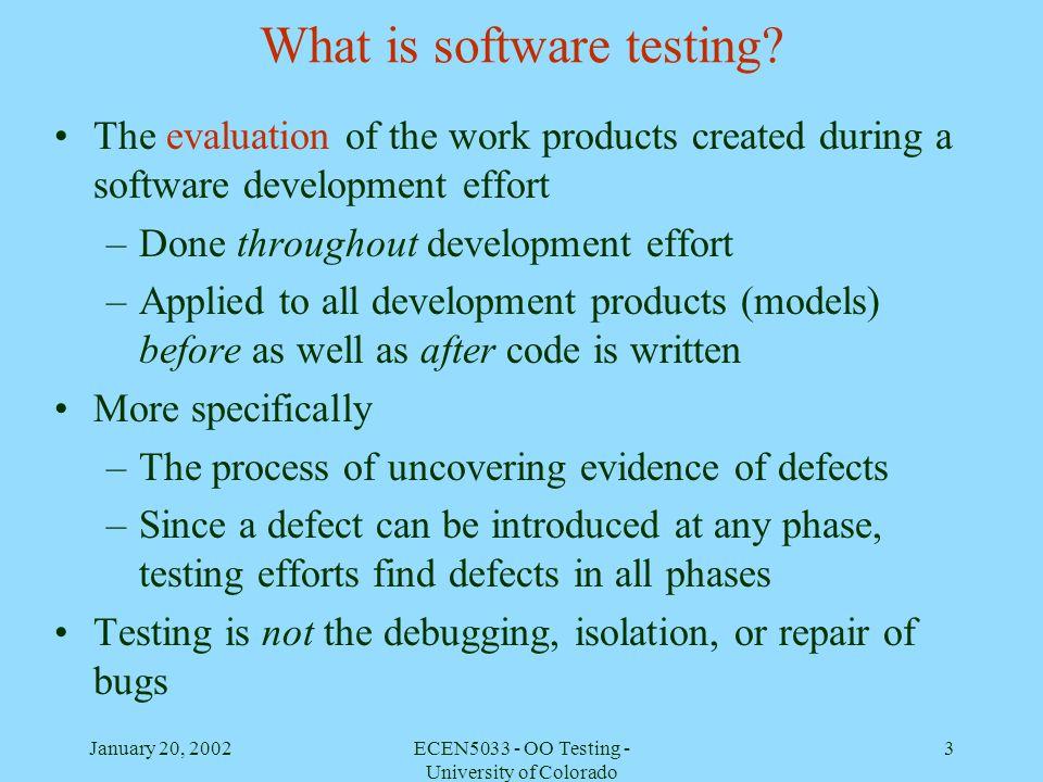 January 20, 2002ECEN5033 - OO Testing - University of Colorado 24 ClassA SubClassA1 SubClassA2