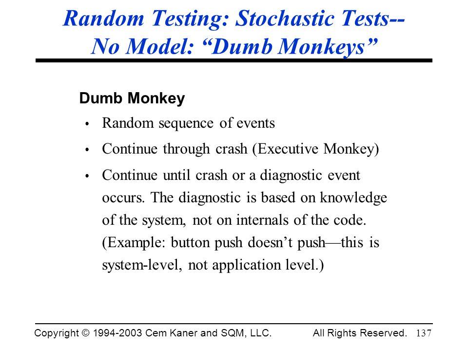Copyright © 1994-2003 Cem Kaner and SQM, LLC. All Rights Reserved. 137 Random Testing: Stochastic Tests-- No Model: Dumb Monkeys Dumb Monkey Random se