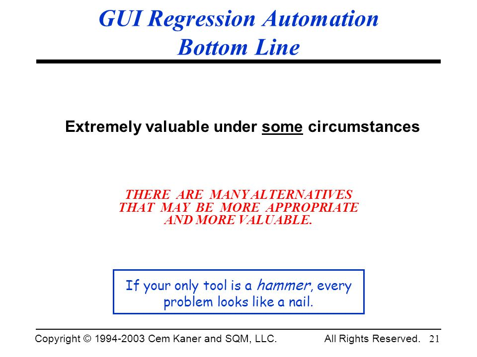 Copyright © 1994-2003 Cem Kaner and SQM, LLC. All Rights Reserved. 21 GUI Regression Automation Bottom Line Extremely valuable under some circumstance