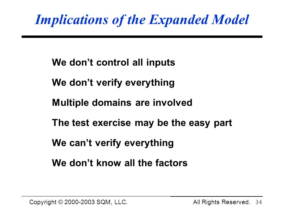 Copyright © 1994-2003 Cem Kaner and SQM, LLC. All Rights Reserved. 34 Implications of the Expanded Model We dont control all inputs We dont verify eve