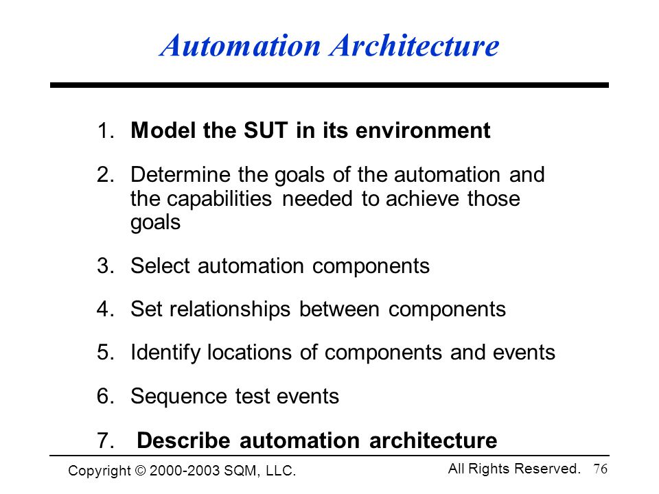 Copyright © 1994-2003 Cem Kaner and SQM, LLC. All Rights Reserved. 76 Automation Architecture 1. Model the SUT in its environment 2. Determine the goa