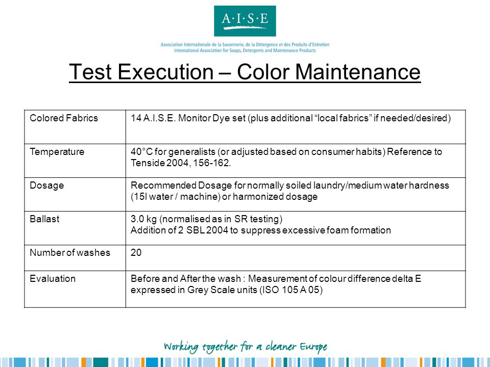 Test Execution – Color Maintenance Colored Fabrics14 A.I.S.E. Monitor Dye set (plus additional local fabrics if needed/desired) Temperature40°C for ge