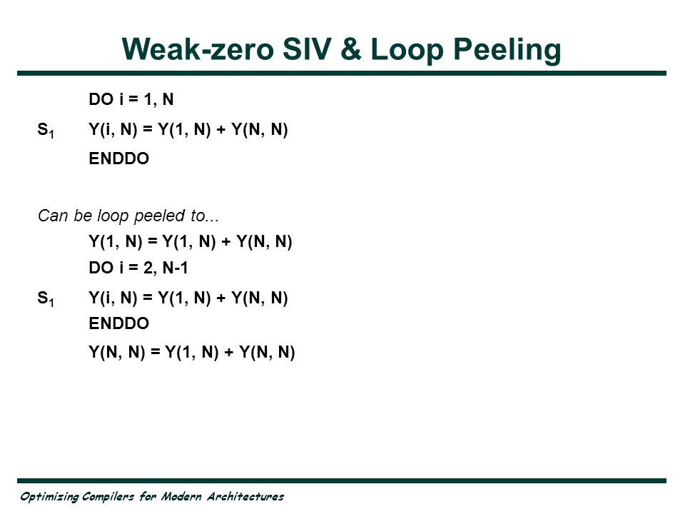 Optimizing Compilers for Modern Architectures Weak-zero SIV & Loop Peeling DO i = 1, N S 1 Y(i, N) = Y(1, N) + Y(N, N) ENDDO Can be loop peeled to...