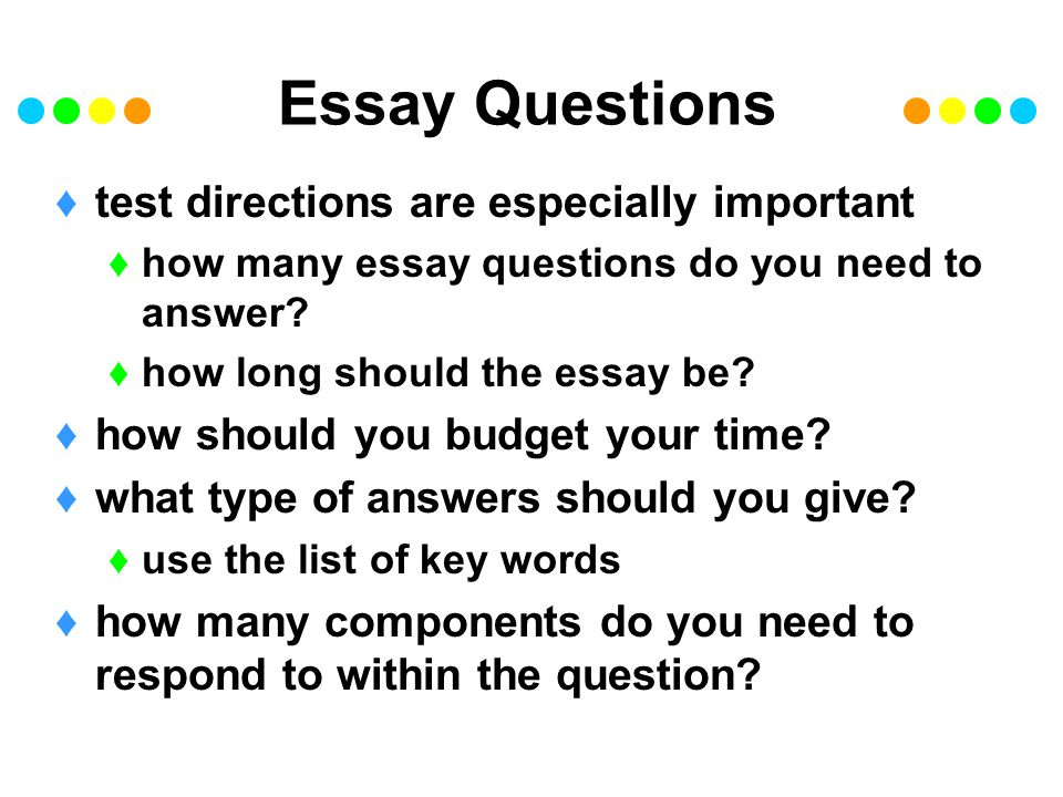 essay directions on a test