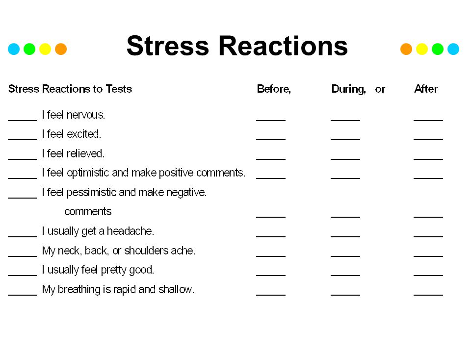 Stress Reactions contd