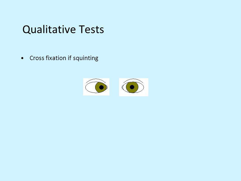 Qualitative Tests Cross fixation if squinting