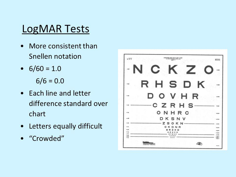 LogMAR Tests More consistent than Snellen notation 6/60 = 1.0 6/6 = 0.0 Each line and letter difference standard over chart Letters equally difficult