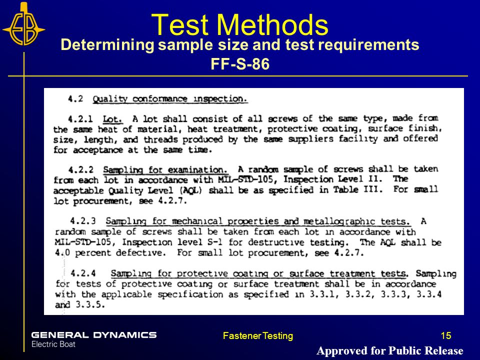 Fastener Testing15 Test Methods Determining sample size and test requirements FF-S-86 Approved for Public Release