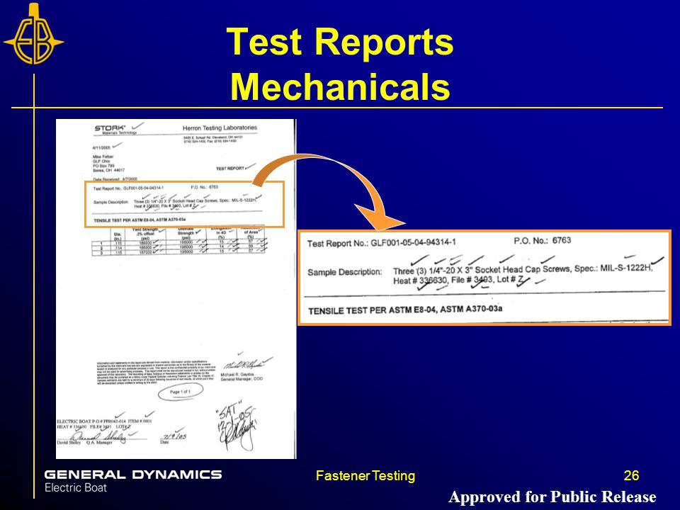 Fastener Testing26 Test Reports Mechanicals Approved for Public Release