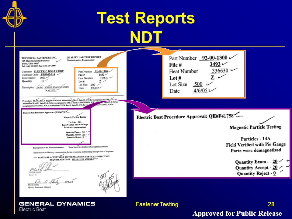 Fastener Testing28 Test Reports NDT Approved for Public Release