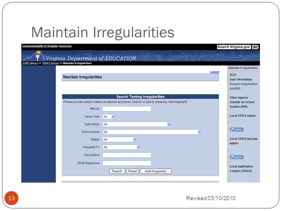 Maintain Irregularities Revised 03/10/2010 13
