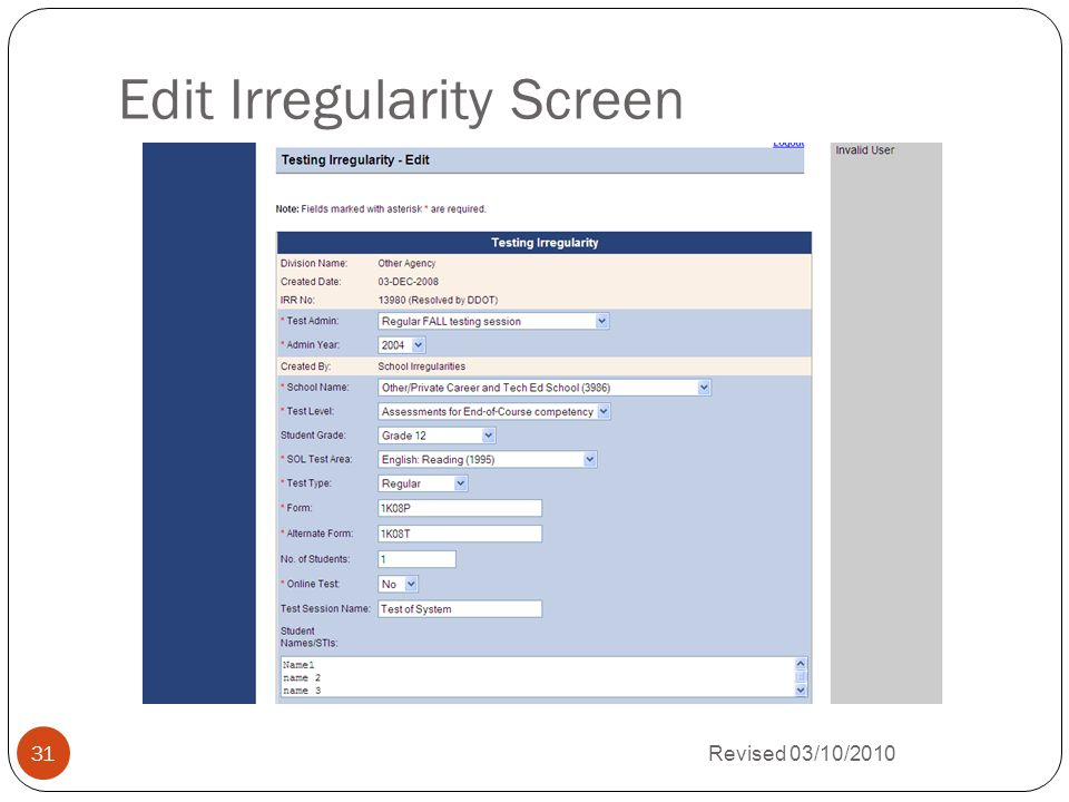 Edit Irregularity Screen Revised 03/10/2010 31