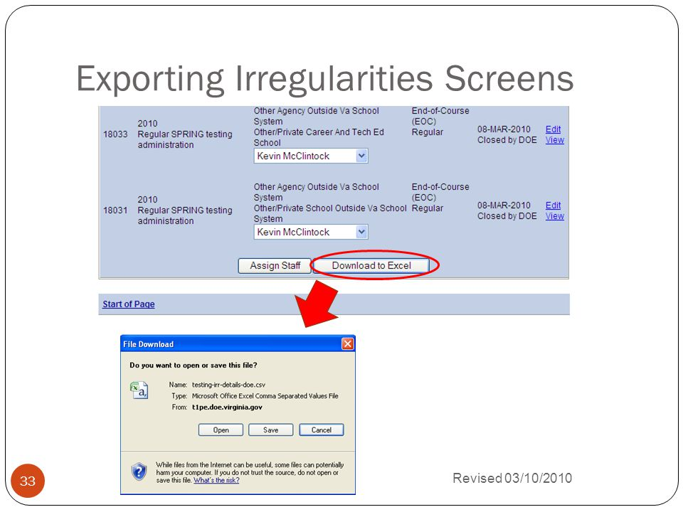 Exporting Irregularities Screens Revised 03/10/2010 33