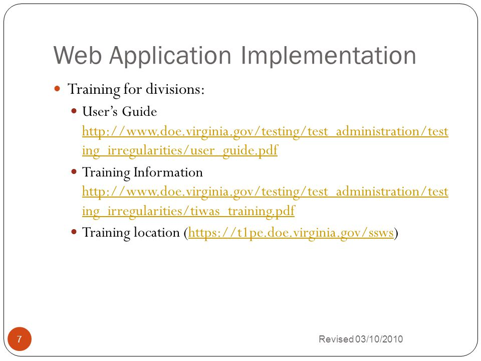Revised 03/10/2010 8 How to Use the Testing Irregularities Web Application System (TIWAS)