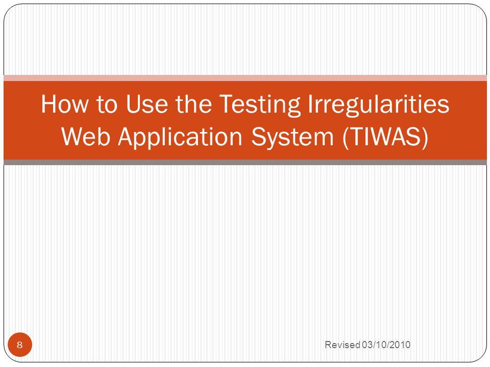 Testing Irregularity Fields-cont.