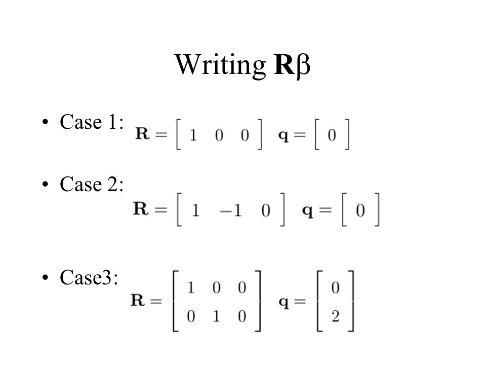 Writing R Case 1: Case 2: Case3: