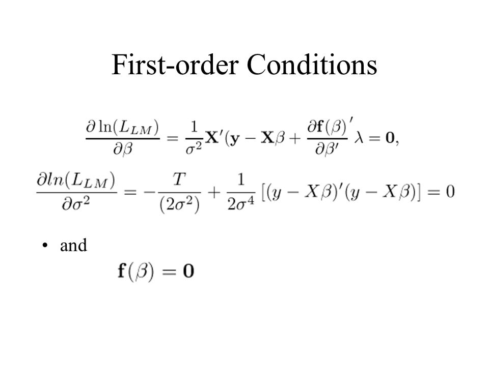 First-order Conditions and