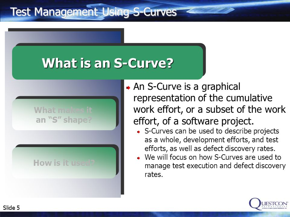Slide 6 What makes it an S shape.How is it used. What is an S-Curve.