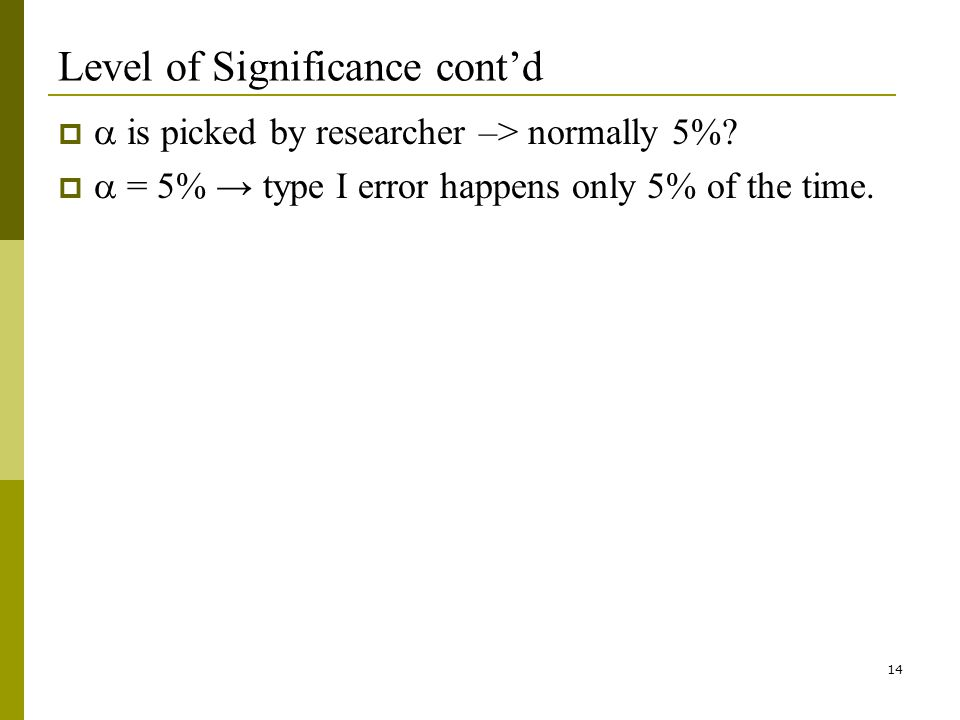 14 Level of Significance contd is picked by researcher –> normally 5%.