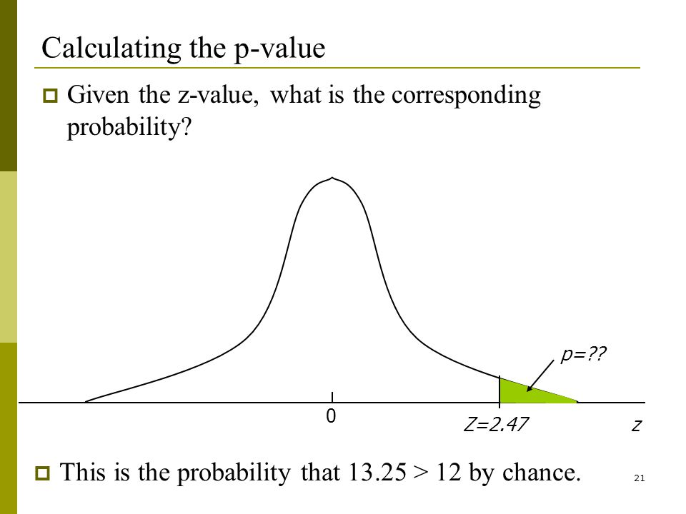 21 Calculating the p-value Given the z-value, what is the corresponding probability.