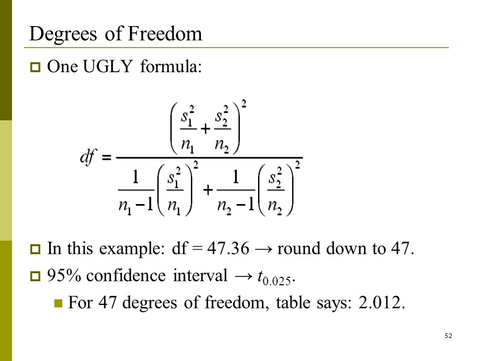 52 Degrees of Freedom One UGLY formula: In this example: df = 47.36 round down to 47.
