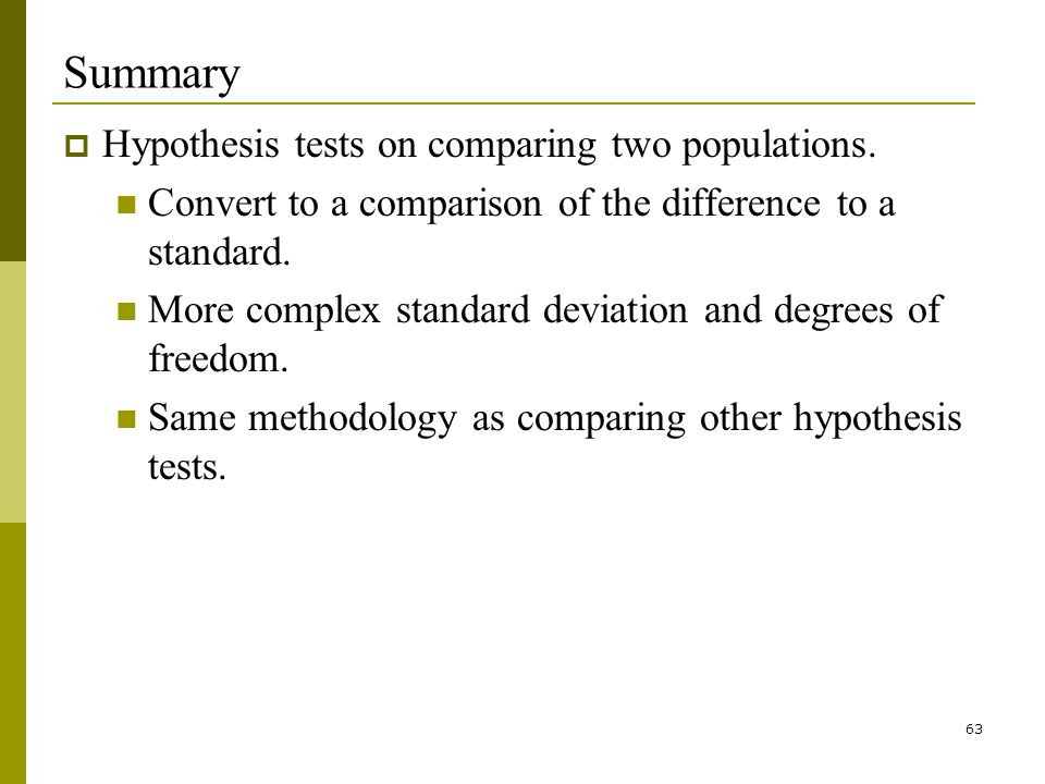 63 Summary Hypothesis tests on comparing two populations.