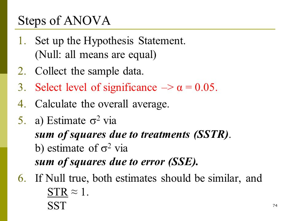 74 Steps of ANOVA 1.Set up the Hypothesis Statement.