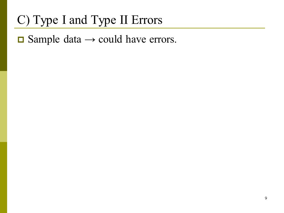 9 C) Type I and Type II Errors Sample data could have errors.